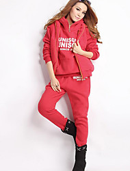 Women's Casual/Daily Active Regular Hoodies,Letter Pink / Red / Gray / Green Hooded Long Sleeve Polyester Fall / set