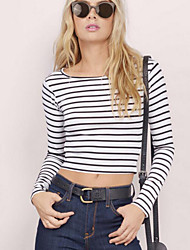 Women's Casual/Daily Simple Fall T-shirt,Striped Round Neck Long Sleeve White Polyester Opaque