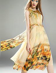 suelta el vestido de flores simple de kmdm las mujeres, cuello redondo de nylon midi