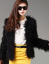 Women's Casual/Daily Simple Fur Coat,Solid Round Neck Long Sleeve Fall / Winter Black Faux Fur Thick