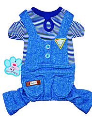 Cat Dog Clothes/Jumpsuit Blue Pink Dog Clothes Winter Spring/Fall Stripe Holiday Fashion