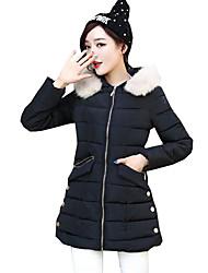 Women's Patchwork Plus Size Slim Zipper Padded Coat,Street chic Hooded Long Sleeve