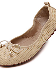 Women's Flats Fall Ballerina / Round Toe Microfibre Casual Flat Heel Bowknot Black / Yellow / White Others
