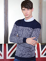 Men's Patchwork Casual Pullover,Cotton Long Sleeve Black / Blue