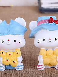 Resin Crafts Creative Gifts 2 Cartoon Kitten Ornaments (Random Styles)
