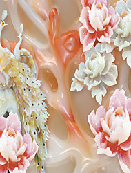 JAMMORY 3D Wallpaper For Home Contemporary Wall Covering Canvas Material Jade Peony Peacock3XL(14'7''*9'2'')