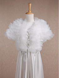 Kids' Wraps Shrugs Short Sleeve Tulle Ivory Wedding / Party/Evening / Casual Scoop 34cm Ruffles / Tiered Open Front