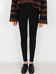 Women's Solid Blue / Black Jeans Pants,Simple