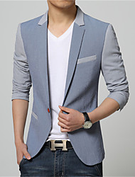 Men's Patchwork / Color Block Casual / Work / Formal Blazer,Cotton / Acrylic / Polyester Long Sleeve Blue / Gray
