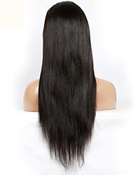 sedoso reta densidade 130% virgem brasileira do laço do cabelo humano peruca dianteira com cabelo do bebê
