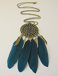 2 Color Feather Long Tassel Necklaces Earrings Suit Restoring ancient Ways