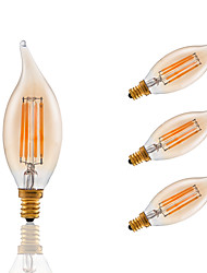 3.5 E12 Lampadine LED a incandescenza B 4 COB 300 lm Ambra Intensità regolabile / Decorativo AC 110-130 V 4 pezzi