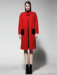 мэри янь& ю женские выходя сложные пальто, толстый твердый стенд длинный рукав зима красный шерсть