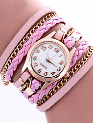 Lady's Bohemian Style Rivet Leather Band White Case Analog Quartz Layered Bracelet Fashion Watch