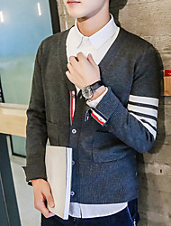 Men's Solid Casual Cardigan,Cotton Long Sleeve Black / Blue / Red / Gray