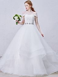 Princess Wedding Dress Court Train Sweetheart Organza / Tulle with Beading / Crystal / Flower