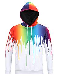 Men's Print Casual / Sport Pocket Hoodie Long Sleeve Melting Color Hoodie Funny 3D Rainbow Hoodie