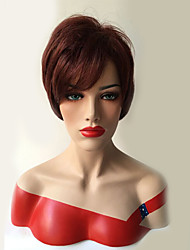 Red Color Short Straight Wigs Capless Synthetic Wigs For Women
