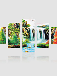 JAMMORY Canvas Set Landscape Modern,Five Panels Gallery Wrapped, Ready To Hang Vertical Print No Frame Waterfall