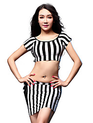 Belly Dance Outfits Women's Training Modal Tassel(s) 2 Pieces Zebra Belly Dance Short Sleeve Top / Skirt