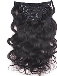 10inch-30inch 120g clipe no brasileiro cor extensões de cabelo (# 1 # 1b # 613) corpo clipe onda em extensões