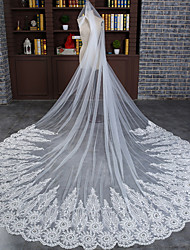 Wedding Veil One-tier Cathedral Veils Lace Applique Edge Tulle Ivory