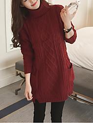 Long Pullover Femme Sortie / Décontracté / Quotidien simple,Couleur Pleine Rouge / Blanc / Noir / Marron Col Roulé Manches Longues