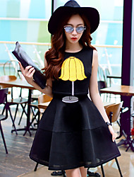 Women's Going out / Casual/Daily / Holiday Cute / Street chic / Sophisticated A Line Dress,Solid Round Neck Above Knee