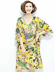 Women's Casual/Daily Street chic Loose Dress,Floral V Neck Midi Short Sleeve Yellow Polyester All Seasons