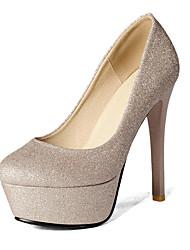 Damen-High Heels-Büro Kleid Lässig-Kunstleder-Stöckelabsatz Plateau-Plateau Pumps-Schwarz Silber Gold