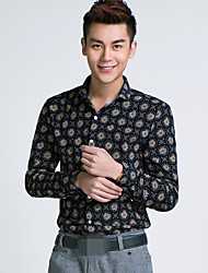 2016 autumn new cotton long sleeved shirt Korean male deer Floral Print Shirt slim youth tide