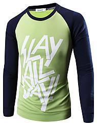Herren T-shirt-Einfarbig Freizeit Baumwolle Lang-Grün / Orange / Gelb