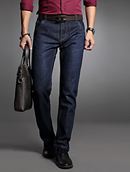 Men's Business Casual Slim Straight Stretch Jeans,Cotton / Polyester Blue