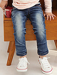 Girl's Cotton Spring/Autumn Fashion Bowknot Cartoon Pattern Embroider Children Skinny Jeans