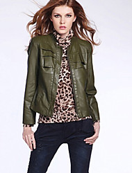 Women's Going out Street chic Fall Leather Jackets,Solid Stand Long Sleeve Green PU Medium