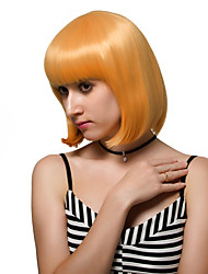 Apricot yellow short hair, fashion wigs.