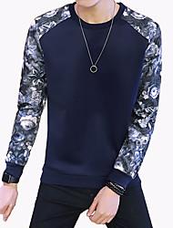 Men's Fashion Print Patchwork O Neck Casual Slim Fit Sweatshirt; Casual/Plus Size/Print