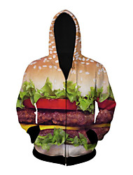 3D  Hoodie Long Sleeve Hamburger Printing Clothing