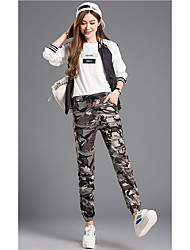 Pantalon Aux femmes Slim / Mince Vintage Coton / Polyester Non Elastique