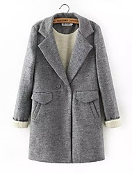 Damen Solide Street Schick Lässig/Alltäglich Mantel,Herbst / Winter V-Ausschnitt Langarm Grau Dünn Wolle / Polyester