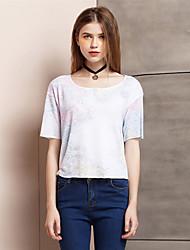 Tee-shirt Aux femmes,Imprimé Sortie simple Eté Manches Courtes Col Arrondi Blanc Polyester / Spandex Fin