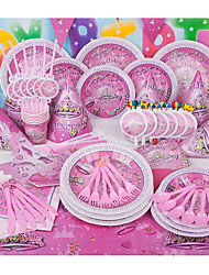 Birthday Party Tableware-6Piece/Set Tableware Sets Tag Plastic Rustic Theme Other Non-personalised Pink