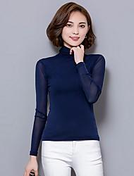 Mulheres Blusa Casual Sensual Outono,Sólido Azul / Rosa / Vermelho / Branco / Preto / Cinza Poliéster Gola Alta Manga Longa Fina