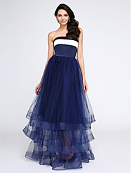 A-Line Strapless Floor Length Satin Tulle Prom Formal Evening Dress with Pleats by TS Couture®
