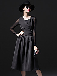 DREAMY LAND  Women's Going out Vintage Dress,Solid V Neck Knee-length Sleeveless Black Cotton / Polyester
