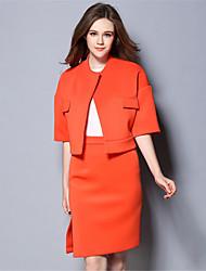 Set Jupe Costumes Femme,Couleur Pleine Décontracté / Quotidien / Travail Vintage / simple Automne / Hiver Manches ¾ Col Arrondi Orange
