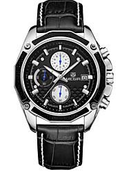 MEGIR® Men's Leather Band Black/White Case 30M Water Resistant Noctilucent Sports Dress Watch(Include Package)