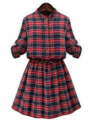 Women's Plus Size / Casual/Daily Cute Sheath Dress,Plaid Stand Above Knee Long Sleeve Red Cotton Spring / Fall