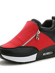 Da donna-Sneakers-Casual-Comoda-Piatto-Sintetico-Nero Rosso Argento