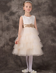 A-line Knee-length Flower Girl Dress - Tulle Sleeveless Jewel with Flower(s)
